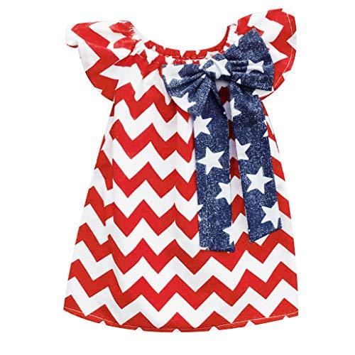 Janly Liquidación Venta Niñas Vestido para 0-10 Años de edad, Bebé Niña 4 de Julio Estrella Vestido de Rayas Casual Vestido de Princesa, rojo, 18-24 meses
