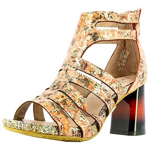 Laura Vita, HACSIO 02, sandalias de piel para mujer, zapatos de verano, puntera abierta, tobillo, suela cómoda con tacón, estilo original flor, coral, Naranja (coral), 36 EU