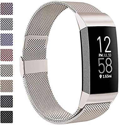 ZWGKKYGYH Compatible with Fitbit Charge 3 and Charge 4 Bands for Men Women, Stainless Steel Mesh Band Magnet Lock Strap Replacement for Fitbit Charge 4/ Charge 3 Fitness Tracker, Large Champagne