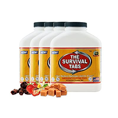 Survival Tabs 60-Day 720 Tabs Emergency Food Ration Survival MREs Food Replacement for Outdoor Activities Disaster Preparedness Gluten Free and Non-GMO 25 Years Shelf Life Long Term - Mixed Flavor from LOHAS FARMS