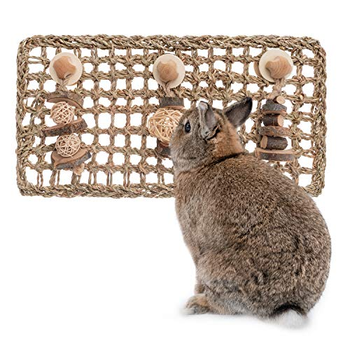 andwe Seagrass Protector Mat with Toys for Rabbit Bunny Chinchilla Guinea Pigs or Other Rodent Pets (16.1 X 7.87-inch)