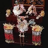 Tiaras de princesa para niñas, tiaras de mujer, tocado para novia, traje antiguo chino, accesorios para el cabello, dragones de hadas rojas y accesorios para el vestido de Fénix femenino