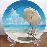 Plato de cerámica costera de 25,4 cm, para cena, silla solitaria, escénica cielo mar, redondo, de porcelana, accesorio decorativo para pasta, ensalada, fiesta, cocina, decoración del hogar