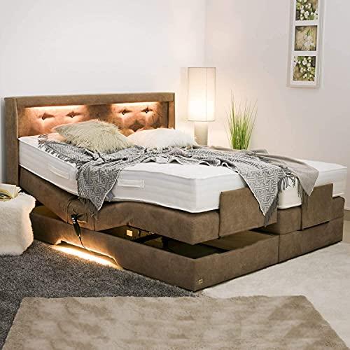 PAARA Luxus Boxspringbett Paris Night GM | 10.000 Newton Motorleistung | LED | Antirutsch-Matten | Royal-WS® Taschenfederkern Matratze mit GELAX® Topper Kern | Made in Germany (90 x 190 cm)