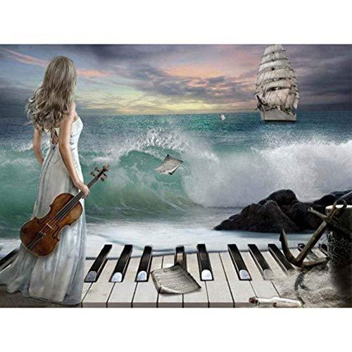 XADITON Abstract kunst Meisje spelen Piano en oceaan verf door cijfers Kits met borstels en acryl Pigment 40x50cm DIY Canvas Schilderen voor volwassenen Beginner(Zonder Frame)