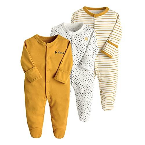Bebé Pijama Pack de 3, Pelele de Algodón Niño Niña Mameluco Manga Larga Monos, Perfecto para Regalo 9-12 Meses