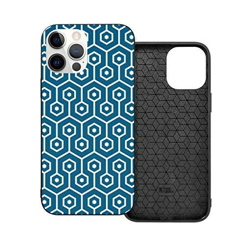 Funda protectora compatible con iPhone 12 / iPhone 12 Pro Modern Hexagon Honeycomb Teal Blue Phone Case Funda Soft Silicona TPU