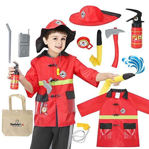 Kids Fireman Costume Role Play Kit Set, Halloween Activities Pretend Role Play Set with Rescue Tools, Educational Firefighter Dress Up Gift for Toddler Boys and Girls