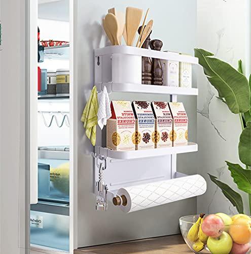 Topotter Foldable Magnetic Fridge Spice Rack, Organizer Storage Holder Kitchen with 3Tier Magnetic Shelf and 1 Paper Towel Roll Holders for Refrigerator Shelf Storage Hanger (Medium-White)