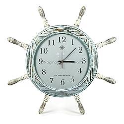 Nagina International 28 Large Antique Ocean Blue Pine Wood Nautical Pirate's Wall Ship Wheel Clock | Vintage Gift