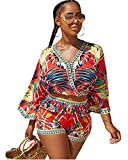 Two Pieces Outfits for Women Summer V Neck Print Romper Playsuit Beach Short Pants Short Jumpsuits Red L