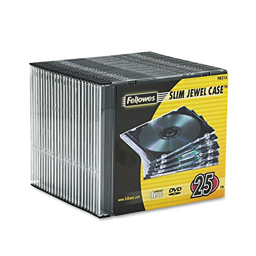 fellowes computer cases Fellowes Slim Jewel Case Clear/Black 25/Pack FEL98316