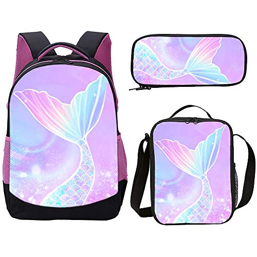 Primary Children School Bag Set Colorful Mermaid Tail Scales Kids Backpack 3 PCS with Lunch Bag for Girl Back To School Best Gift (Mermaid Tail 3PCS)