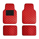 FH Group F12002RED Diamond Pattern Luxury Universal All-Season Heavy-Duty Faux Leather Red Car Floor Mats Design w. High Tech 3-D Anti-Skid/Slip Backing