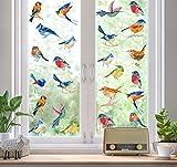KAIRNE 23 Stücke Aquarell Vögel Fensteraufkleber,Garten
