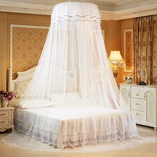 Parluna Himmelssäng gardin, polyester 360° andningsbar säng myggnät rund för hemmet (vit)