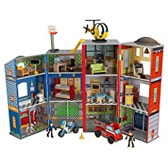3 floors and 12 rooms Floor-to-ceiling firefighter's pole Bendable firefighters and dogs 3 vehicles - a helicopter, police motorcycle and a fire truck Folds up for quick and easy storage Large enough for children to play together Includes detailed st...