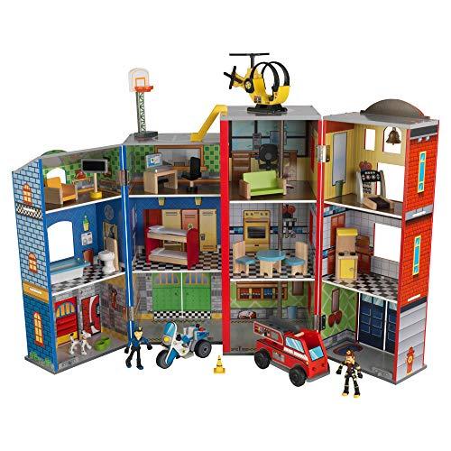 KidKraft 63239 Everyday Heroes Kinder-Spielset aus Holz mit Feuerwehrauto, Polizei, Hubschrauber und Spielfiguren