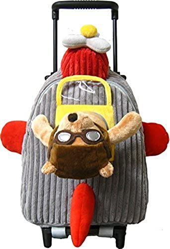 Kreative Kids Adorable Airplane Rolling Backpack with Stuffed Pilot Bear and Removable Wheels by Kreative Kids