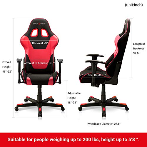 DXRacer PC Gaming Chair Racing Style Office Computer Seat Height Adjustable Recliner with Ergonomic Head Pillow and Lumbar Support, Formula Series, Standard, Black & Red