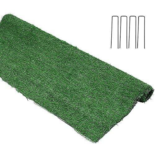 Tapis Gazon Artificiel en Plastique 1 × 2m Synthétique au mètre Moquette Extérieure Tapis de Sol en Plastique pour Balcon Terrasse Jardin