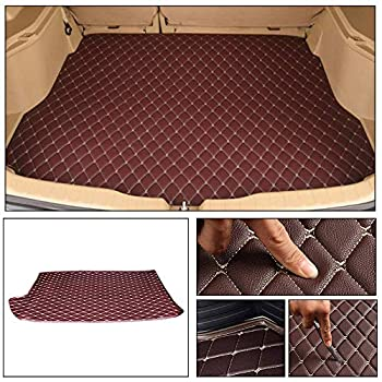 Longzhimei Leather Car Trunk Mats for Volkswagen Polo Hatchback 2014-2018 Car Boot Liner Protector Cover Cargo Liner Set Anti-Slip Coffee Color