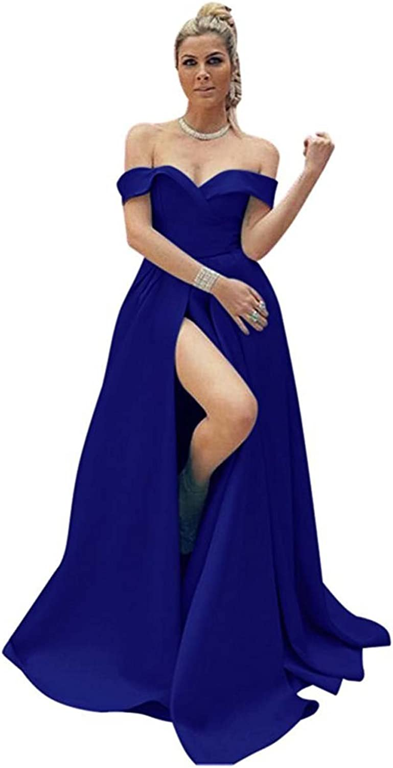Ruisha Women's Satin Off The Shoulder Prom Party Dresses High Slit Formal Evening Gowns Long 2018 RS0004