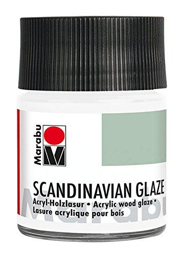 Marabu 12610005171 - Acryl Holzlasur, Scandinavian Glaze, edelweiß 50 ml, auf Wasserbasis, speichelecht, wetterfest, schnell trocknend, zum Pinseln und Malen auf unbehandeltem Holz