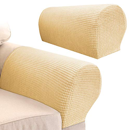 Your's Bath 2Pcs Armrest Covers Spandex Stretch Fabric Waterproof Arm Caps Anti-Slip Furniture Protector Slipcovers for Armchairs Sofa Couches Recliner (Dark Beige)