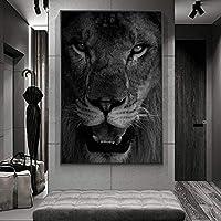キャンバスアート絵画70x90cmフレームなし壁にアフリカの野生のライオンの顔のアート絵画アートポスターとプリント白黒動物アート写真
