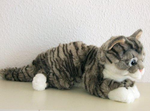 liegende graugetigerte Katze, Maine Coon 35 cm Plüschkatze Stoffkatze