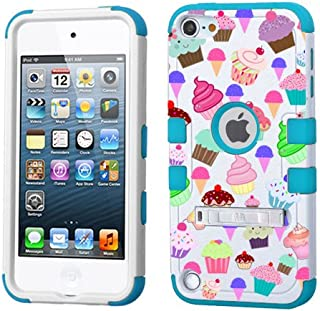PHONETATOOS iPod Touch 5th 6th Generation Case - Hard Shell Case Compatible with Apple - Shockproof Hybrid 5/6 Cover with Stand for Boys and Girls (Cupcakes)