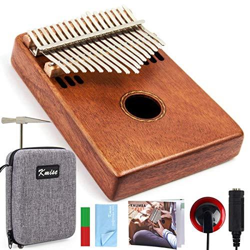 Kmise Kalimba - Pianoforte a 17 tasti, in mogano, con custodia imbottita, accordatore