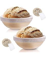 Rishaw Cesta de prueba ovalada de 35 cm Cesta de prueba de pan de ratán natural con raspador de forro de tela para panaderos domésticos profesionales