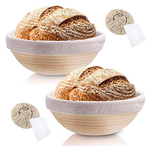 Rishaw Gärkörbchen Rund, ø 25 cm, Höhe 8.5 cm mit Leineneinlage und Teigkarte, Gärkorb Set für Hausgemachtes Brot fasst 1000g Teig - Aus Natürlichem Peddigrohr & Handgemacht (rund x 2)