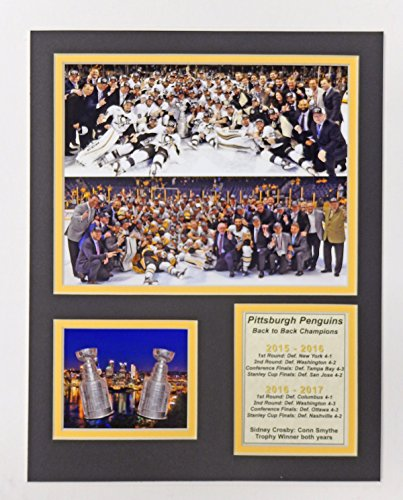 "2016-2017 Pittsburgh Penguins - Back to Back Stanley Cup Champions - 11"" x 14"" Unframed Matted Photo Collage by Legends Never Die, Inc."
