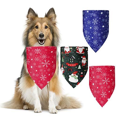 Qinhum Pañuelo navideño para perros, paquete de 3 bufandas navideñas para mascotas, muñeco de nieve, baberos lavables con copos de nieve para disfraz de perro y gato navideño