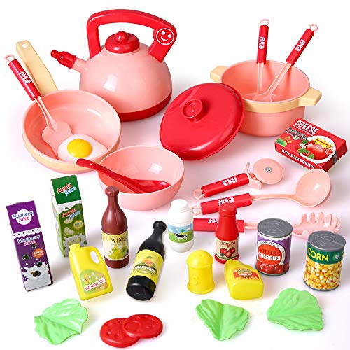 BeebeeRun Giocattoli da Cucina, 30PCs Pentolameda da Cucina con Pentole e Padelle, Giochi di Ruolo per Bambini, Regali Giocattolo Educativo per Bambin