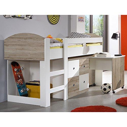 Wimex 326238 Hochbett Kinderbett, Holz - Eiche Nachbildung - Absetzungen alpinweiß