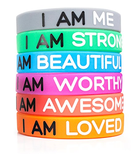 Solza Inspirational Silicone Wristbands 6-Piece Set Rubber Band Bracelets, 6 Different Colors & Messages to Brighten Your Day | Adult Unisex Size, 20 x 1 cm | Non-Toxic, Hypoallergenic