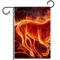 ガーデンフラッグ、庭の装飾庭の旗、屋外バナー垂直12x18インチ火の馬 家の装飾のため