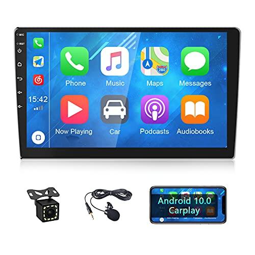CAMECHO Radio de Coche Android 2 DIN con Apple Carplay 10.1 Pulgadas Pantalla táctil Autoradio GPS Bluetooth WiFi RDS FM + Doble USB+ Cámara Trasera