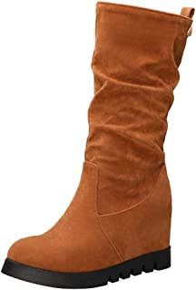 ELEEMEE Women Height Increase Slouch Boots Mid Boots
