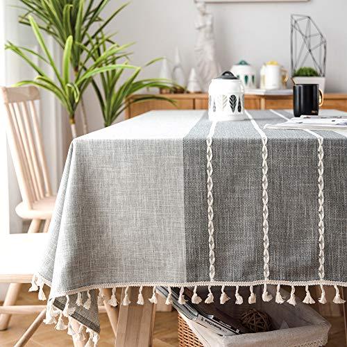 SUNBEAUTY Mantel Mesa Rectangular Tela Algodon Lino con Borlas Mantel Antimanchas 140x200 cm Elegante Table Cloth Rectangle para Mesa de Comedor de Cocina