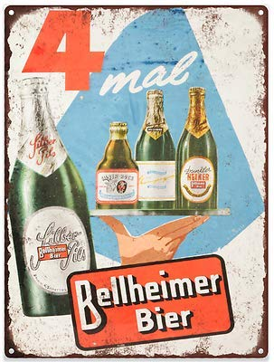Rebecca Simpson Bellheimer Bier Beer Vintage Look Advertising Metal Sign 9 x 12