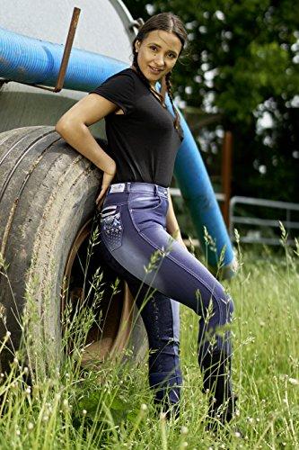 Tysons Breeches Jeans Reithose Reiterhose Jeansreithose Salina Silicon Grip Vollbesatz Stick Strass Schlupf Blau Stoned Washed 36 38 40 42 44 46 48 (44)