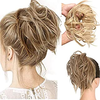 Messy Stretch Ponytail Hairpiece Bun Synthetic Wig Hair Extensions Daily or Party Hair Extensions with Elastic Scrunchies ...