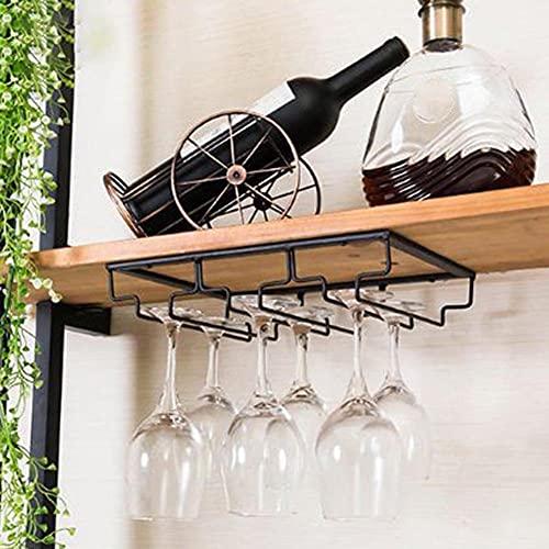BAWAQAF Soporte para copas de vino Bartender Stemware Colgador Bajo Gabinete Vajilla Organizador Vidrio Cáliz Hierro Rack Bar Herramienta Negro