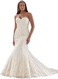 Women Sweetheart Strapless Mermaid Wedding Dress Lace Appliques Organza Bridal Gown for Bride