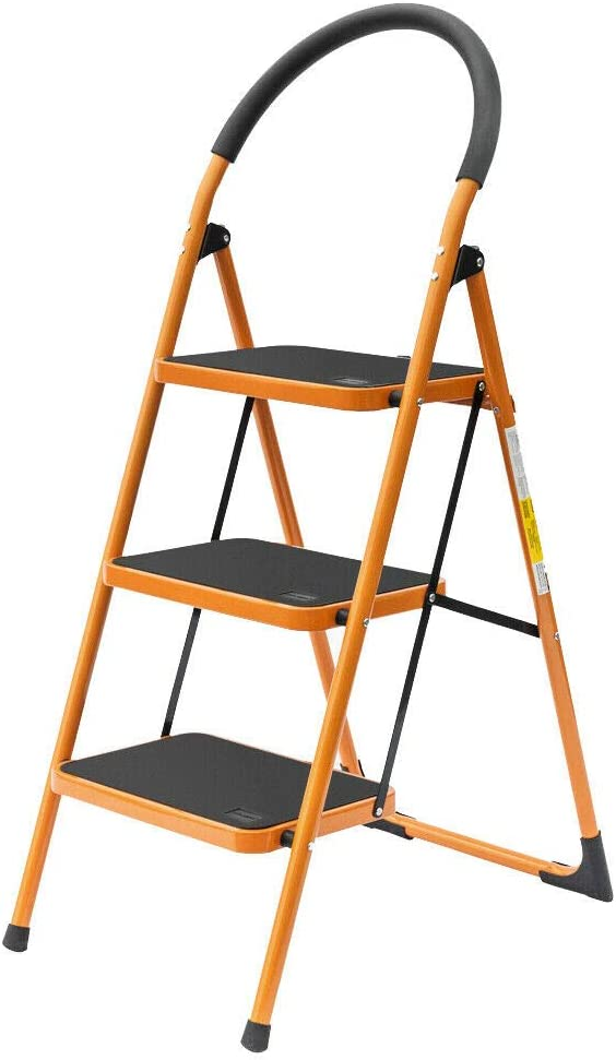 Free Fashionable Shipping Cheap Bargain Gift 3 Step Ladder - Folding Anti-Slip with Pedal Stool Wide
